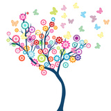 Tree with Flowers and Butterflies Posters by  hibrida13
