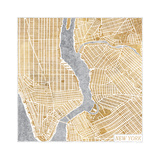 Gilded New York Map Prints by Laura Marshall