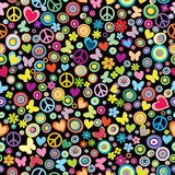 Seamless Pattern of Flowers, Circles, Hearts, Butteflies and Pea Prints by  hibrida13