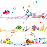Music Note with Cartoon Birds Singing Premium Giclee Print by  hibrida13