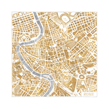 Gilded Rome Map Art by Laura Marshall