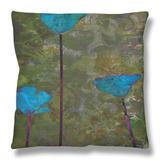 Teal Poppies II Throw Pillow by Ricki Mountain