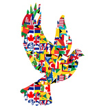 Peace Concept with Dove Made of World Flags Prints by  hibrida13