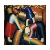 Harvesting Rye Giclée-tryk af Kasimir Severinovich Malevich