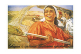 Let's Gather the Rich Harvest from the Virgin Land! Giclee Print by Oleg Mikhailovich Savostyuk