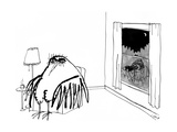 A Peeping Tom with Binoculars looks into a big Bird's living room.  - New Yorker Cartoon Premium Giclee Print by Edward Steed