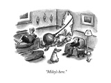 """Miley's here."" - New Yorker Cartoon Premium Giclee Print by Frank Cotham"