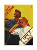 Comrade, Come Join Us at the Collective Farm! Giclee Print by Vera Sergeyevna Korableva