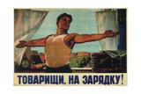 Comrades, Let's Do Morning Exercises! Giclée-tryk af Nikolai Ivanovich Tereshchenko