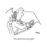 A grim reaper sits on a driver's shoulder.  - New Yorker Cartoon Premium Giclee Print by Mark Thompson