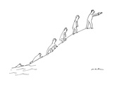 The ascent of man, culminating with a man holding and pointing a hand gun. - New Yorker Cartoon Premium Giclee Print by Michael Maslin