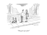 Two parents talk about their children, who look like tiny adults.  - New Yorker Cartoon Premium Giclee Print by Mick Stevens