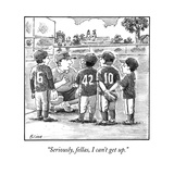 """Seriously, fellas, I can't get up."" - New Yorker Cartoon Premium Giclee Print by Harry Bliss"