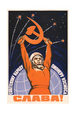 Long Live the Soviet People - the Space Pioneers! Giclée-tryk af Vadim Petrovich Volikov