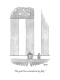 A politician behind a podium remarks upon an enormous American flag behind... - New Yorker Cartoon Premium Giclee Print by Jack Ziegler