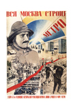 All Moscow Builds the Metro Giclee Print by Gustav Klutsis