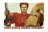 Warrior, Answer the Motherland with Victory! Giclée-Druck von Dementi Alexeevich Shmarinov