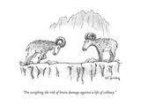 """""""I'm weighing the risk of brain damage against a life of celibacy."""" - New Yorker Cartoon Premium Giclee Print by Mike Twohy"""