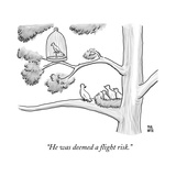 A bird in a birdcage sits on a tree branch, as more birds in a nearby nest… - New Yorker Cartoon Premium Giclee Print by Paul Noth