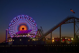 Los Angeles, Santa Monica, Ferris Wheel and Roller Coaster Photographic Print by David Wall