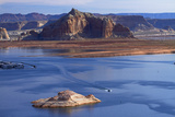 Arizona, Boats on Lake Powell at Wahweap, Far Shoreline Is in Utah Photographic Print by David Wall