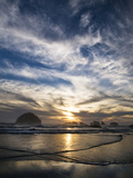USA, Oregon, Bandon Beach. Face Rock and Sea Stacks at Twilight Photographic Print by Jaynes Gallery