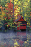 New York, Adirondack Mountains. Boathouse in Autumn Along the Lake Photographic Print by Jaynes Gallery