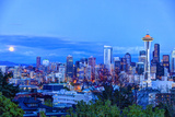 Moon Rising Near Seattle Skyline Viewed from Kerry Park, Washington Photographic Print by Stuart Westmorland