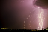 Lightning Strikes from a Storm Cloud. Tucson, Arizona Photographic Print by Thomas Wiewandt