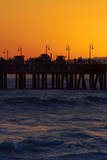 Santa Monica Pier at Sunset, Santa Monica, Los Angeles, California Photographic Print by David Wall