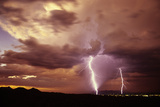 Sunset Storm with Lightning Strikes. Tucson, Arizona Photographic Print by Thomas Wiewandt