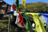India, West Bengal, Singalila National Park, Tonglu, Buddhist Prayer Flags Photographic Print by Anthony Asael