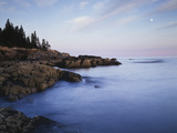 Maine, Acadia National Park, Moonset over the Atlantic Ocean at Sunrise Photographic Print by Christopher Talbot Frank