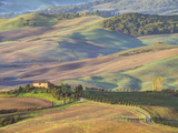 Italy, Tuscany. Evening Light on a Winding Road Photographic Print by Julie Eggers