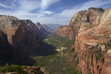 Utah, Zion National Park, View from Top of Angels Landing into Zion Canyon Photographic Print by David Wall