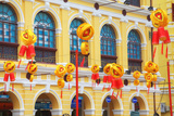 China, Macau, Tile Covered Streets at Chinese New Year Photographic Print by Terry Eggers