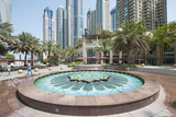 Fountain on the Dubai Marina Walk, Dubai, United Arab Emirates Photographic Print by Michael DeFreitas
