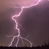 Summer Monsoon Lightning Channel. Tucson, Arizona Photographic Print by Thomas Wiewandt
