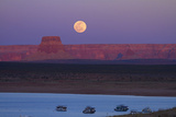 Moon Rising over Tower Butte. Arizona, Lake Powell and Houseboats Photographic Print by David Wall