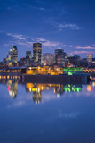 Canada, Montreal, Skyline and Old Port Along St. Lawrence River, Dusk Photographic Print by Walter Bibikow