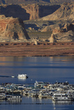 Arizona, Lake Powell and Houseboats at Wahweap Marina, Wahweap Photographic Print by David Wall