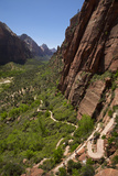 Utah, Zion National Park, Hikers Climbing Up West Rim Trail and Angels Landing Photographic Print by David Wall