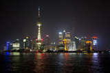 Shanghai, China, Evening Cityscape and Lights with River Reflection Photographic Print by Darrell Gulin
