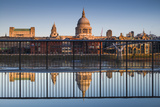 England, London, Reflection in Puddle, Near Millennium Bridge, Dawn Photographic Print by Walter Bibikow