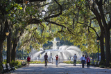 Georgia, Savannah, Fountain in Forsyth Park Photographic Print by Walter Bibikow