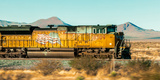 Freight Train Engine on the Move in West Texas Photographic Print by James White