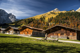 Cabins High in the Austrian Alps Fall Colors Photographic Print by Sheila Haddad