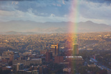 North Carolina, Asheville, Elevated City Skyline with Rainbows, Dawn Photographic Print by Walter Bibikow
