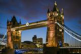 England, London, Tower Bridge, Dusk Photographic Print by Walter Bibikow