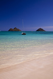 USA, Hawaii, Oahu, Sail Boat at Anchor in Blue Water with Swimmer Photographic Print by Terry Eggers